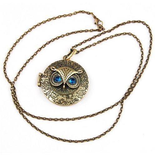 Zircon Eyes (iSaddle® Antiqued Vintage Owl Locket Long Pendant Necklace with Blue Zircon Eye)