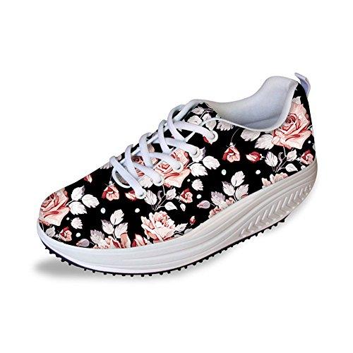 - Bigcardesigns Flower Print Vintage Walking Sneaker Casual Women's Wedges Platform Shoes 39