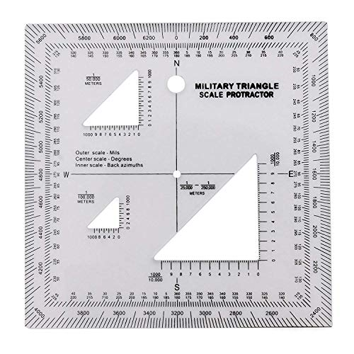 GOTICAL Military UTM/MGRS Coordinate Scale - Map Reading and Land Navigation - Topographical Map Scale, Protractor and Grid Coordinate Reader - Pairs with Compass and Pace Counter Beads Military -
