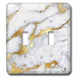 3dRose LSP_268835_2 Image of Luxury Grey Gold Gem Stone Marble Glitter Metallic Faux Print Toggle Switch, Mixed