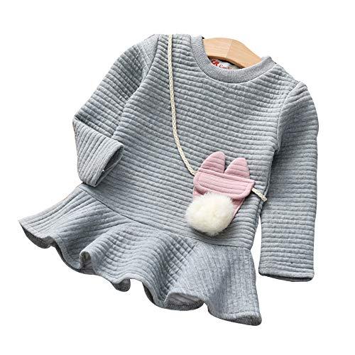 Princess Flower Dress Girl Eden - Fashion Baby Clothes Clothing Set for 0-24 Months Baby Little Girls Princess Dress Children Clothes Outfits Cartoon Long Sleeves Sweatshirt Dress Gray