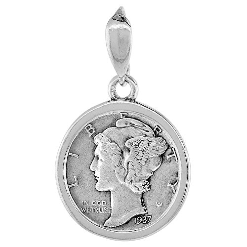 Sterling Silver Dime Bezel 18 mm Coins Prong Back Square Edge 10 cent -