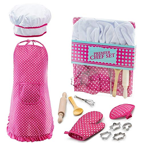 (Christmas Xmas Gifts for 3-8 Year Old Girls, Chef Set for Kids for Toddler Dress Up Career Role Play Toddler Cooking and Baking Set Chef Costume Idea for Girls Pink)