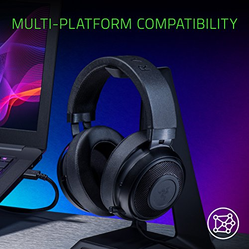 ccb21dd9d5f Razer Kraken Pro V2: Lightweight Aluminum Headband - Retractable Mic -  In-Line Remote - Gaming Headset Works with PC, PS4, Xbox One, Switch, ...
