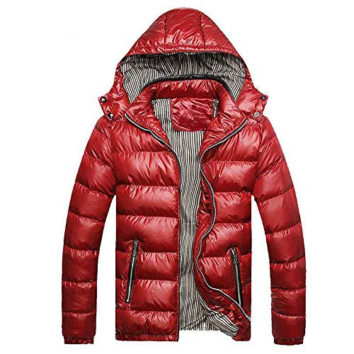 Mens Jacket Godathe Men's Winter Hat Removable Cotton Jacket Thickening Warm Cotton Padded Coat M-4XL