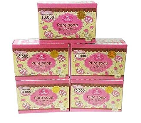 Jellys Pure Soap Whitening Vitamin E Gluta White Aura Reduce Dark Spot Anti Aging ( 5 X 100gm ) - Clair Lightening