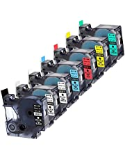 """7-Pack Replace DYMO D1 Label Tape 45010 45013 45017 45018 45019 45021 D1 Refills Compatible DYMO LabelManager 160 280 420P PnP 220P 360D 450 210D, 1/2"""" W x 23' L, 12mm x 7m"""
