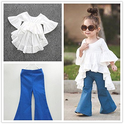 Toddler Kids Girls White Dress Blue Flared Pants Cotton Clothes Outfits & Sets