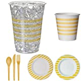 Eco-Products Colors Yellow Party Pack, Disposable Dinnerware Set Includes Renewable and Compostable Plates, Hot Cups, Cold Cups, and Cutlery