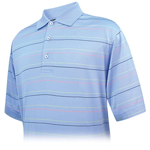 Monterey Club Mens Short Sleeve Pima Cotton Stripe Shirt #1455 (Sky Blue/Spring Green, Large)