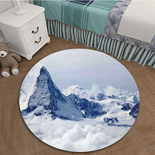 Fade Resistant Contemporary Plush Hallway Entryway Living Dining Room Area Rug 2.62 Ft Diameter Lake House Decor,Scenery of Mountain Summit Magical Scenery Natural Paradise Pattern,Black White