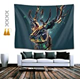SUNH0ME 3D Elk Head Tapestry, Bohemian Wall Tapestry Wall Hanging Tapestry - Wall Indian Decorations Wall Art for Living Room Bedroom Dorm Room 60 x 80 inches
