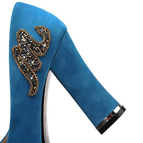 AllhqFashion Mujeres Tacón Grueso Puntera Redonda Cerrada De salón con Diamante de Imitación Azul