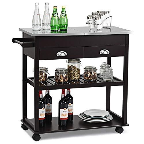 - 1 x Rolling Kitchen Island Trolley Cart Stainless Steel Flip Tabletop w/Drawer Brown