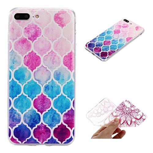 ZXLZKQ pour iPhone 7 Plus Etui Transparent Soft TPU Housse Silicone Case Fleur Polka Dot Rose Blanc bumper Coque pour Apple iPhone 7 Plus (non applicable iPhone 7)