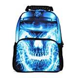 Koolertron Boys Girls 3D Skull Crossbone Print Daypack Backpack School Bag Multicoloured for School Camping Travel Fits 14 Inch Notebook Laptop,Ipads and Samsung Tablet (Blue)