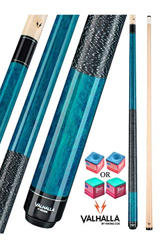 Valhalla by Viking 2 Piece Pool Cue Stick VA113 Blue Stain Irish Linen Wrap 16-21 oz. Plus Blue Master Chalk (Blue VA113, 19)