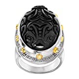 Silpada 'Into the Night' Natural Black Agate Ring in Brass and Sterling Silver