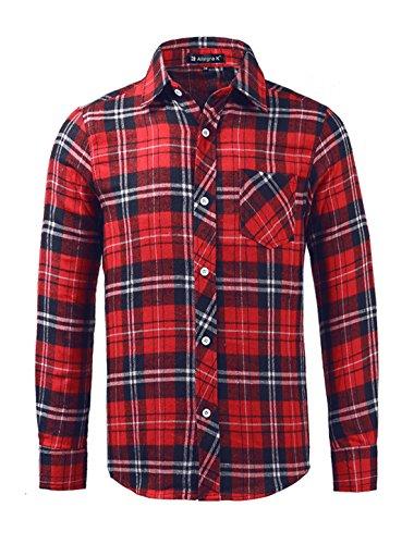 ピース日常的に彼女はAllegra K (JP) メンズ フランネルシャツ チェックシャツ 長袖 チェック柄 開襟 カジュアル おしゃれ レッド-ブルー S/34