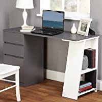 Modern Writing Computer Desk. Blend Modern Design and Function. Includes Shelves and Drawers for Storage. Perfect Office, Dorm Room, or Appartment Furniture.
