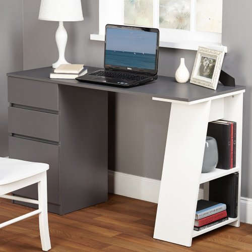 Cheap TMS Modern Writing Computer Desk. Blend Modern Design and Function. Includes Shelves and Drawers for Storage. Perfect Office, Dorm Room, or Appartment Furniture