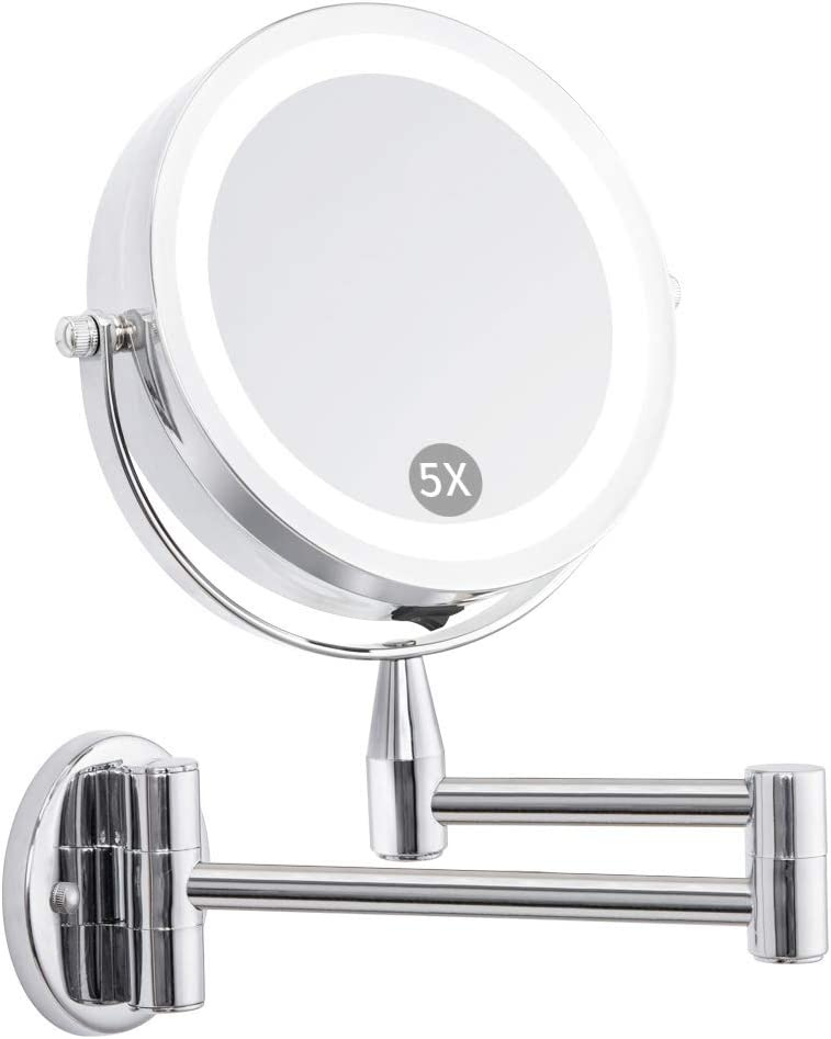 FIRMLOC Wall Mounted LED Magnifying Mirror 5X Makeup 6 Lighted Double Side 360 Degree Vanity Magnification Swivel Extendable Mirror