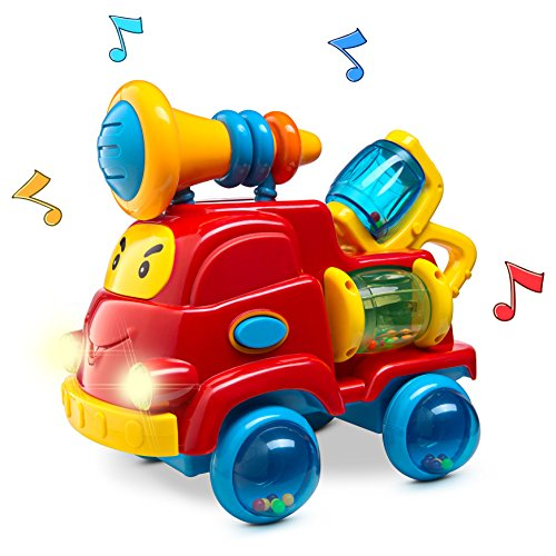 Prextex Christmas Toy Gift Pull Apart Rattle Truck Toy for Baby with Lights and Music Best Christmas Gift