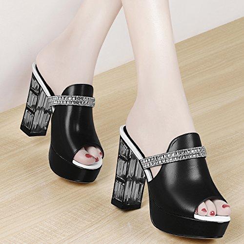 Jqdyl High Heels Wilde hochhackige Sommerabnutzung im Freien Mode Hausschuhe Sandalen und Hausschuhe Sandalen  39|black