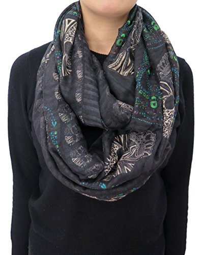 Lina & Lily Sugar Skull Print Women's Infinity Scarf (Black)