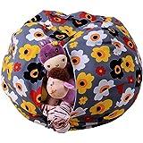 AmyDong Storage Box,Clearance Kids Stuffed Animal Plush Toy Storage Bean Bag Soft Pouch Stripe Fabric Chair Plush Toy Pouch Home Storage Bag (A)
