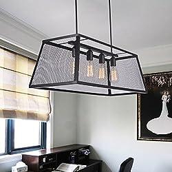 Pendant lights Pendant Lamp Fixture Rectangular Iron Retro Industrial Style Pendant Lamp Living Room Lamp Dining Room Bedroom Lighting Fixture (Color : Yellow)