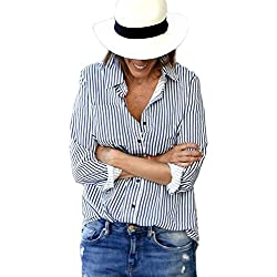 Milumia Women's Lapel Vertical Striped Equipment Button-Front Blouse Blue