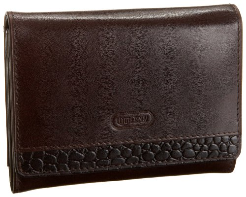 Leatherbay Accordian Wallet With Croc,Brown,one size, Bags Central