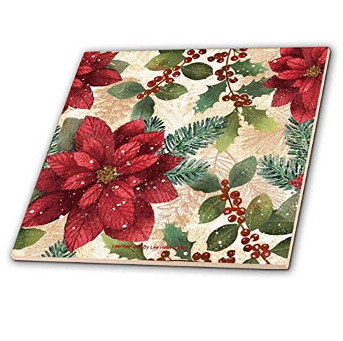 Lee Hiller Designs Holidays Christmas - Retro 50s Red Poinsettias - 6 Inch Glass Tile -