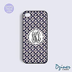 Personalized Your Initials iPhone 6 Case - 4.7 inch model - Navy Blue Coral Pattern iPhone Cover