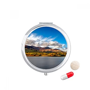 Mountain Crystal Lake Science Nature Scenery Travel Pocket Pill Case  Medicine Drug Storage Box Dispenser Mirror