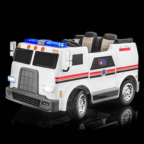 SUPERtrax Big Rig Emergency Kid's Ride On 4 Wheel Drive Ambulance Electric Toy Car 12V - Rubber Tires - Remote Control w/Free MP3 Player - White