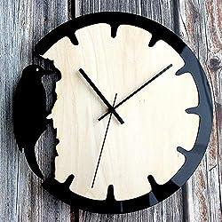 Ffzhushengmy Clock Size 28cm 28cm Woodpecker Wall Clock Creative Home European Retro Wooden Wall Clock Watch Creative Home Decoration Wall Clock