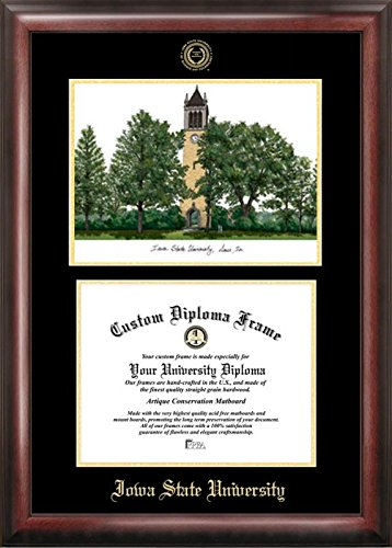 Campus Images IA998LGED Iowa State University Embossed Diploma Frame with Lithograph Print, 8.5
