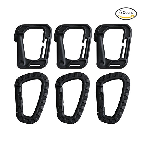 Tagvo Tactical D-ring Clip Quick Access, High Strength Lightweight Plastic Tactical Carabiner Multipurpose D-Ring Locking for Molle System Tactical Vest Backpack Pouch Belt Hanging Hook, 6 Packs (Vest Plastic)
