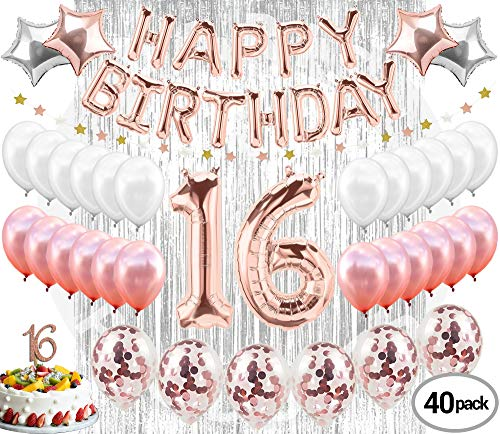 16th Birthday Decorations Party Supplies Sweet 16 Birthday balloons| Rose gold Confetti Balloons|16 Cake Topper Rose Gold| Metallic silver curtain for Photo booth and props| Sweet Sixteen Decorations -