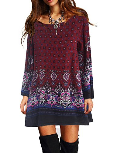 Saslax Women's Bohemian Printed Ethnic Style Loose Casual Tunic Blouse Top