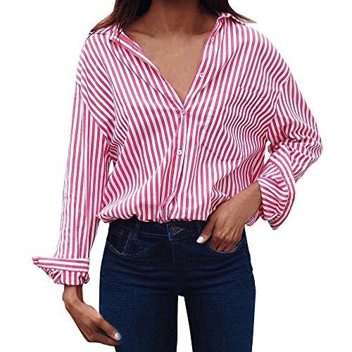Femme Chemise Chic Rayure Boutons Col V Hauts Manches Longues Tops Blouse Casual Shirt S/m/l/xl/xxl/xxxl Par Homebaby Rose
