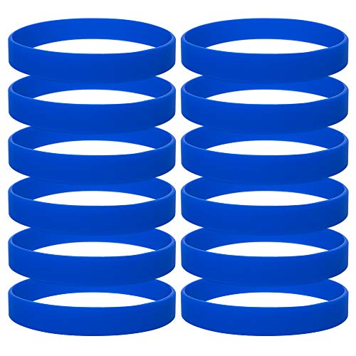 GOGO 12PCS Silicone Bracelets Adult-Sized Rubber Band Bracelets Wristbands for Party - Royal Blue