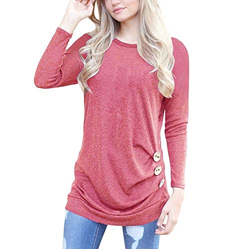 (POQOQ Tops T Shirts Womens Blouses Long Sleeve See-Through Sheer Mesh Plus Size Scrubs Bravo 5-Pocket V-Neck M Wine Red)