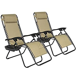 Best ChoiceProducts Zero Gravity Chairs Tan Lounge Patio Chairs Outdoor Yard Beach New (Set of 2) from Best ChoiceProducts