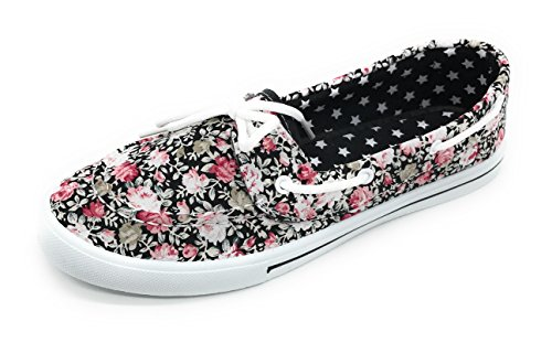 Sneaker Lace Canvas Comfy Blue Round Prt Shoe Boat EASY21 Berry Toe up Tennis Rose Slip Flat On Black gnxt47xqCw