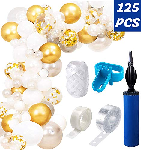 Balloon Arch & Garland Kit 16 ft 120 White Silver Gold Confetti Balloons for Baby Shower Wedding Birthday Bachelorette Party Backdrop Background -