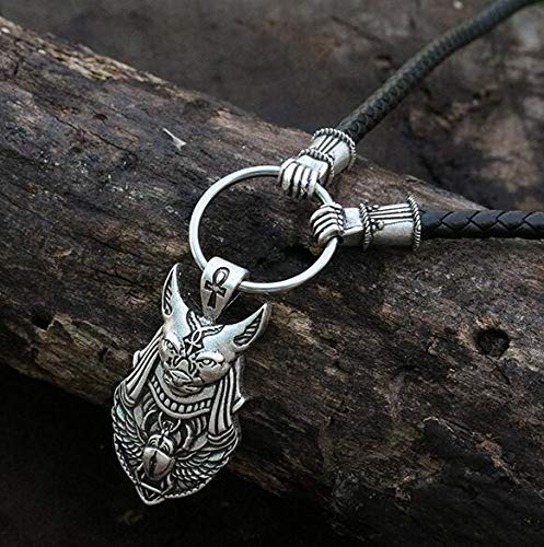 Viet-GT 1Pcs Egyptian Scarab Beetle Pendant Vintage Silver Pharaoh Necklace Pendant Scarab Wings Pendant Antique Silver Anubis Head 1 Pcs - Ancient Egypt God Statue ()
