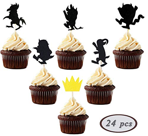 24 Pieces Where the Wild Things Are Inspired Cupcake Topper Wild One Black 1st Birthday Party Decorations